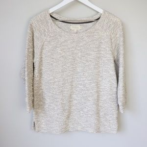 Lou & Grey Cotton Blend Sparkle 3/4 Sleeve Sweater